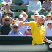 Sam Groth in action against John Isner during the opening singles rubber of the Australia v United States Davis Cup tie at Kooyong Lawn Tennis Club; SMP Images