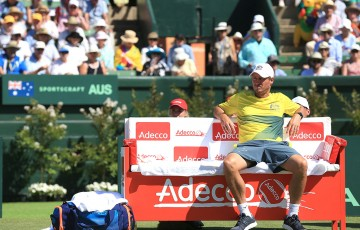Australian Davis Cup captain Lleyton Hewitt watches courtside during  the Australia v United States Davis Cup tie at Kooyong Lawn Tennis Club; SMP Images