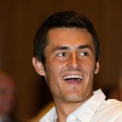 Bernard Tomic at the Davis Cup official team dinner in Melbourne; Getty Images