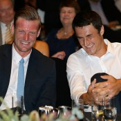 Sam Groth (L) and Bernard Tomic at the Davis Cup official team dinner in Melbourne; Getty Images