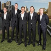 The United States Davis Cup team of (L-R) Jack Sock, John Isner, the Bryan brothers and captain Jim Courier get ready for the official team dinner in Melbourne; Getty Images