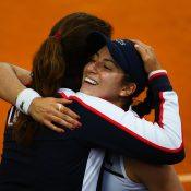 Mary Joe Fernandez and Christina McHale embrace after her win over Stosur. Photo: Getty Images