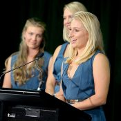 As is tradition, Daria Gavrilova gave  a speech at the official dinner the night before the draw. Photo: Getty Images
