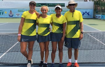 Australia's World Junior Tennis girls' team of (L-R) Olivia Gadecki, Natasha Russell, Annerly Poulos and captain