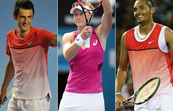 (L-R) Bernard Tomic, Sam Stosur and Nick Kyrgios; Getty Images