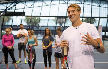 Luke Hines at the launch of Fitbit Cardio Tennis at Melbourne's National Tennis Centre; Tennis Australia