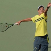 Alexander Crnokrak in action at the Junior Davis Cup final qualifying competition in Delhi, India; Getty Images