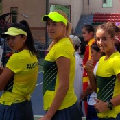 Australia's Junior Fed Cup team of (L-R) Jeanette Lin, Kaitlin Staines and Jessica Zaviacic; Tennis Australia