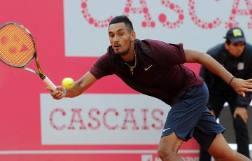 Nick Kyrgios stretches for a forehand during his second-round victory over Inigo Cervantes at the ATP Estoril Open; photo credit @MillenniumEstorilOpen