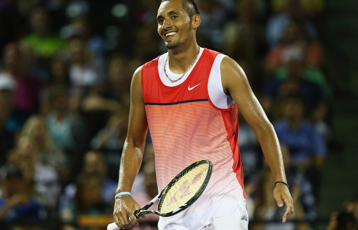 Nick Kyrgios in action during his quarterfinal victory over Milos Raonic at the Miami Open; Getty Images