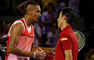 Nick Kyrgios (L) shakes hands with Kei Nishikori after falling to the Japanese No.6 seed in the Miami Open semifinals; Getty Images