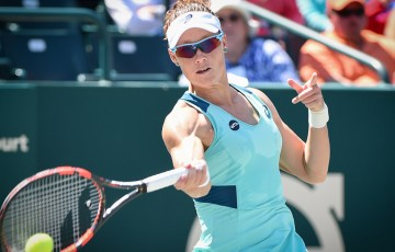 Sam Stosur in action at the WTA event in Charleston;