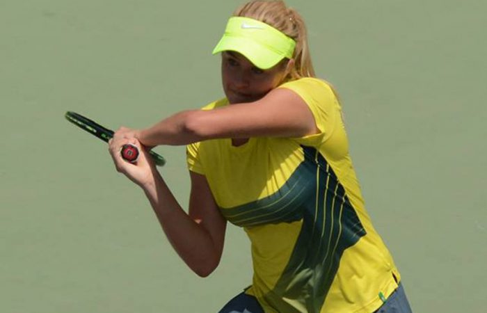 Kaitlin Staines in action for Australia at the Junior Fed Cup Asia/Oceania Final Qualifying competition in New Delhi; photo credit Delhi Lawn Tennis Association