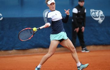 Sam Stosur in action at the WTA Prague Open; photo credit J&T Banka Prague Open