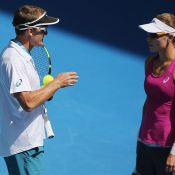 Sam Stosur (R) and David Taylor prepare for Australian Open 2016; Getty Images