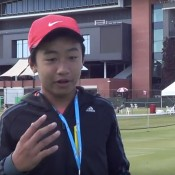 Edward Vo is interviewed after his quarterfinal victory at the 12/u Australian Grasscourt Championships in Adelaide; Tennis SA