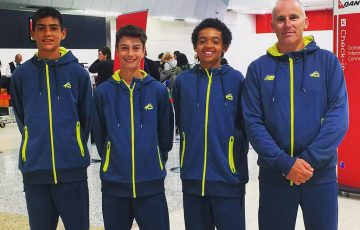The Australian World Junior Tennis team of (L-R) Philip Sekulic, Alex Bulte, Enzo Aguiard and captain Bernie Goerlitz; Tennis Australia