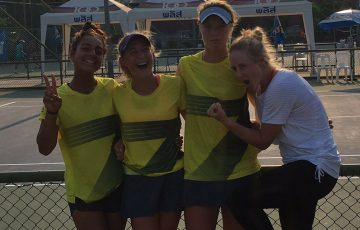 Australia's World Junior Tennis team of (L-R) Annerly Poulos, Natasha Russell and Olivia Gadecki pose with Australia pro Jess Moore at the Asia/Oceania final qualifying competition in Thailand; Tennis Australia