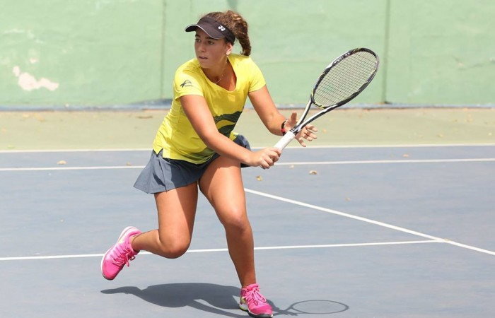 Jessica Zaviacic in action for Australia at the Junior Fed Cup Asia/Oceania Final Qualifying competition in New Delhi; photo credit Delhi Lawn Tennis Association