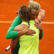 Stosur and Molik embrace after the tie. Photo: Getty Images