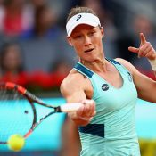 Sam Stosur in action during her third-round win over Carla Suarez Navarro at the Mutua Madrid Open; Getty Images
