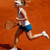 Daria Gavrilova in action during her third-round win over Petra Kvitova at the Mutua Madrid Open; Getty Images