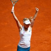 Daria Gavrilova celebrates her third-round win over Petra Kvitova at the Mutua Madrid Open; Getty Images