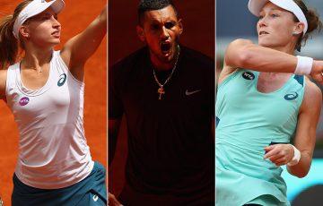 (L-R) Australians Daria Gavrilova, Nick Kyrgios and Sam Stosur; Getty Images