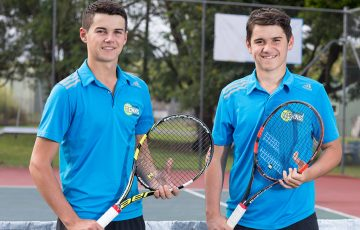LEADING THE WAY: Travis Farinelli, 18, runs the Farinelli Tennis Academy, where 15-year-old brother Brett, right, assists.