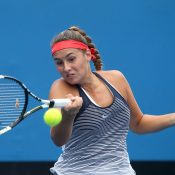 MELBOURNE, AUSTRALIA - JANUARY 28:  Sara Tomic of Australia plays a forehand in her junior quarter finals match against Baijing Lin of Australia during the Australian Open 2016 Junior Championships at Melbourne Park on January 28, 2016 in Melbourne, Australia.  (Photo by Pat Scala/Getty Images)