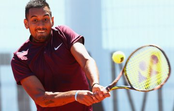 Nick Kyrgios plays a backhand en route to victory over Guilo Pella in the first round of the Mutua Madrid Open; Getty Images