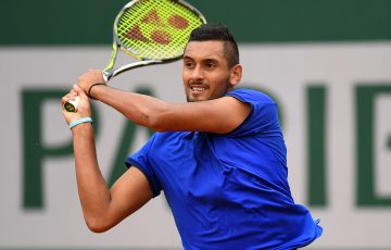 Nick Kyrgios plays a backhand during his opening-round victory over Marco Cecchinato at Roland Garros; Getty Images