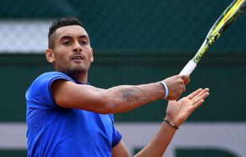 Nick Kyrgios in action during his second-round victory over Igor Sijsling at Roland Garros; Getty Images