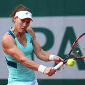 Sam Stosur in action during her first-round victory over Misaki Doi at Roland Garros; Getty Images