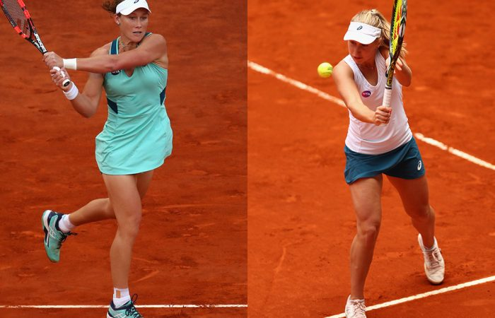 Sam Stosur (L) and Daria Gavrilova in action during their third-round victories at the Mutua Madrid Open; Getty Images