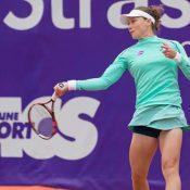 Sam Stosur in action during her first-round win over Lauren Davis at the Internationaux de Strasbourg; photo credit Cyril Gife