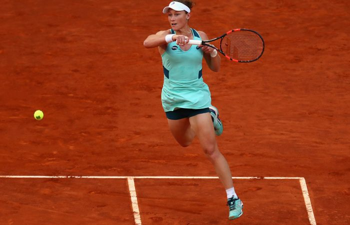 Sam Stosur in action during her third-round victory over No.8 seed Carla Suarez Navarro at the Mutua Madrid Open; Getty Images