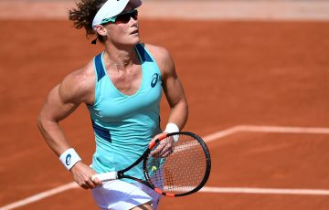 Sam Stosur in action during her second-round win over Zhang Shuai at Roland Garros; Getty Images