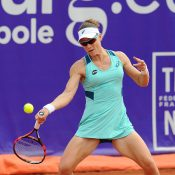 Sam Stosur in action during her second-round victory over Hsieh Su-Wei at the Internationaux de Strasbourg; photo credit Internationaux de Strasbourg