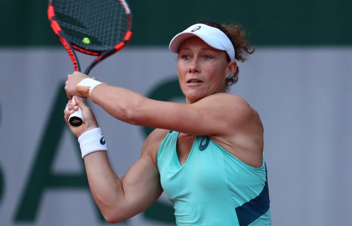 Sam Stosur plays a backhand during her first-round match against Misaki Doi of Japan; Getty Images
