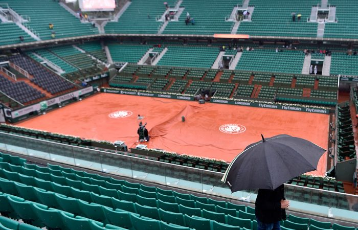 Covers over Court Philippe Chatrier as the rain falls in Paris; Getty Images
