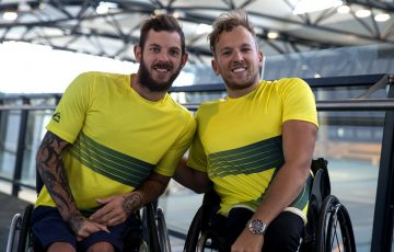 Dylan Alcott (R) and Heath Davidson are part of the Australian wheelchair tennis team headed to the 2016 Rio Paralympics.