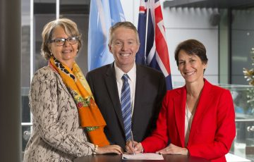 UN Empower Women Consultation.  Patricia Francis (UN Secretariat Rep ), Craig Tiley (Tennis Australia CEO) and Jayne Hrdlicka (TA Board member and Jetstar CEO)