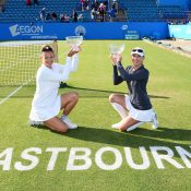 Anastasia Rodionova (R) and Darija Durak claimed the doubles title at the Aegon International Eastbourne; Getty Images