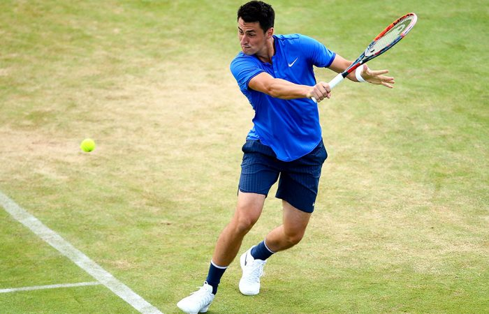 Back on his beloved lawns, Bernard Tomic stormed into the semifinals of the Aegon Championships at Queen's Club; Getty Images