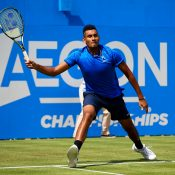 Nick Kyrgios was pipped at the post in his opening round match at Queen's Club, falling in three to eventual finalist Milos Raonic; Getty Images