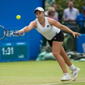 In her first tour-level singles event since the 2014 US Open, Ash Barty qualified for the main draw in Nottingham before storming to the quarterfinals, where she pushed top seed Karolina Pliskova all the way; Getty Images