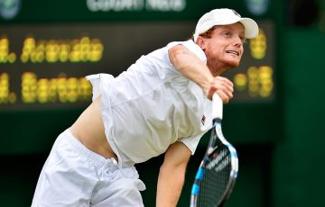 Matt Barton serves during his straight-sets second-round Wimbledon qualifying win over Marcelo Arevalo; Getty Images