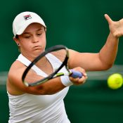Ash Barty in action during her second-round Wimbledon qualifying loss to Luksika Kumkhum of Thailand; Getty Images