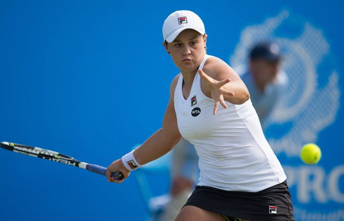 Ash Barty in action during her second-round victory over Andrea Hlavackova at the WTA Aegon Open in Nottingham; Getty Images